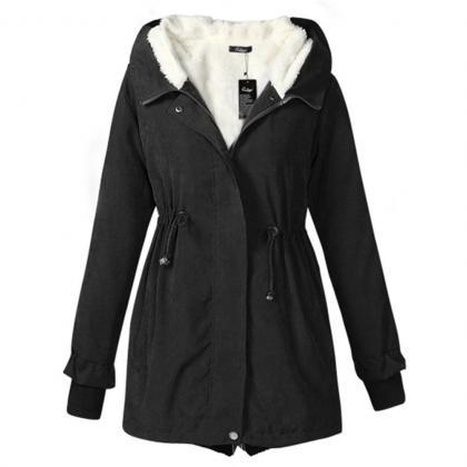 Hooded Zip Up Fleece Warm Jackets W..