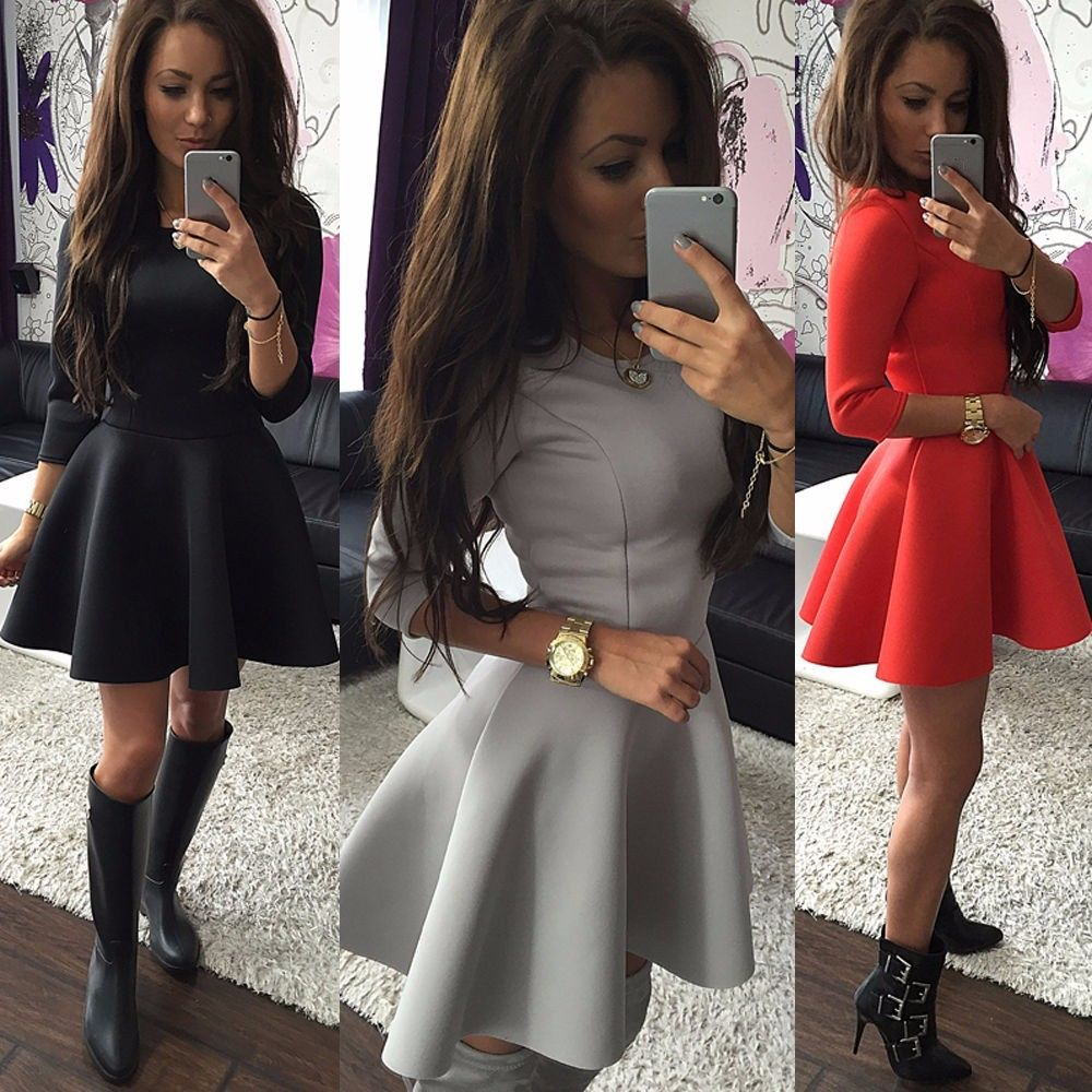 Fashion Women s 3 4 Sleeve Sexy Winter Evening Party Bodycon Mini Skater  Dress b76b3141a
