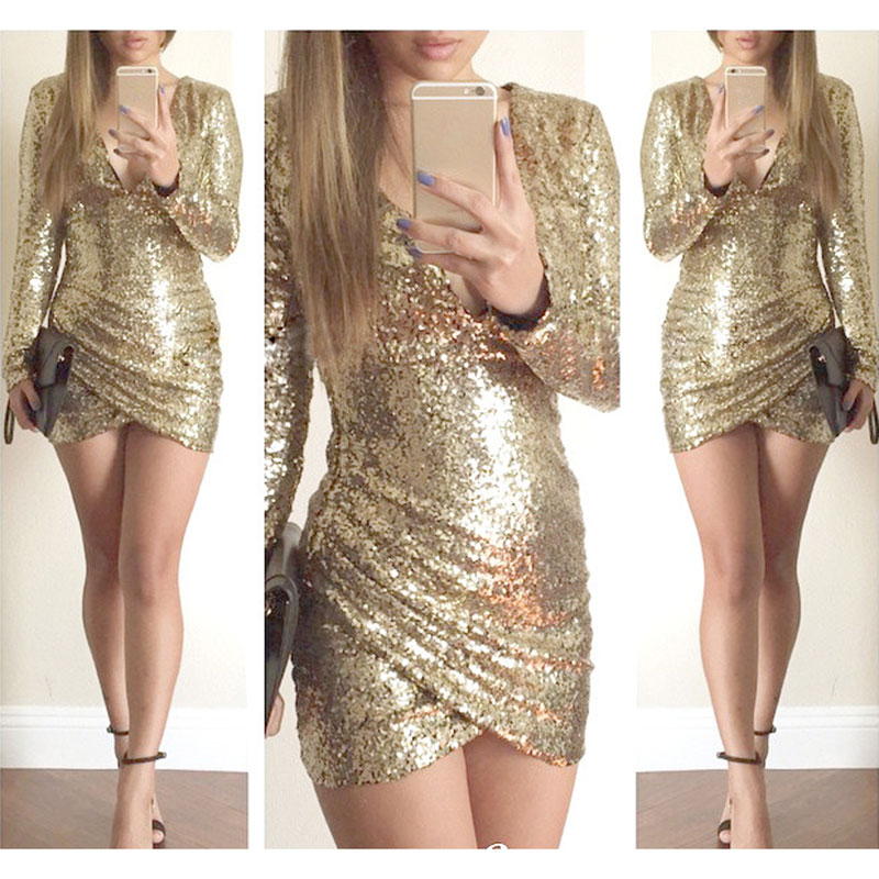 84ca88fb53866 Women Sequin Bodycon V Neck Fashion Long Sleeve Cocktail Party Mini Dress  on Luulla